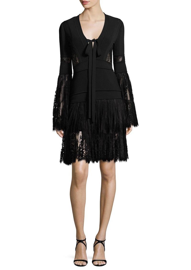 Elie Saab Elie Saab Lace & Knit Bell-Sleeve Cocktail Dress   Dresses ...