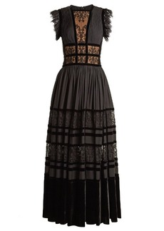 Elie Saab Lace-insert pleated-georgette gown