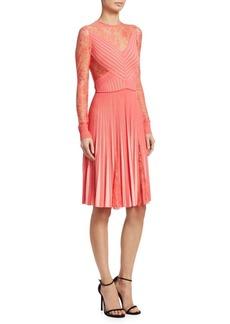 Elie Saab Lace Pleated Dress
