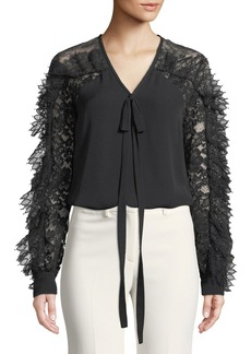 Elie Saab Lace-Sleeve V-Neck Tie-Front Silk-Blend Blouse