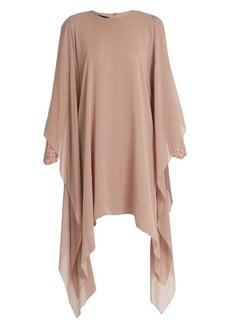 Elie Saab Lace-sleeved silk-georgette dress
