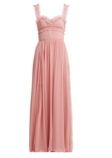 Elie Saab Lace-trimmed silk-blend evening gown