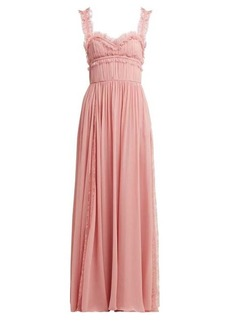 Elie Saab Lace-trimmed silk-blend evening gown