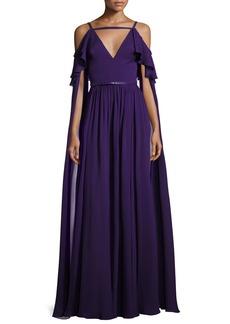 Elie Saab Long-Sleeve Cold-Shoulder Strappy Gown