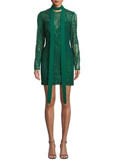 Elie Saab Long-Sleeve Sheath Sequin Dress