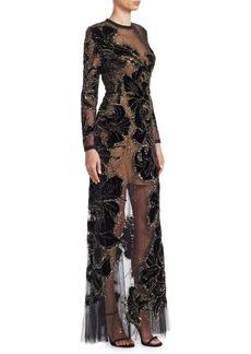Elie Saab Long Sleeve Velvet Beaded Gown