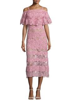 Elie Saab Off-the-Shoulder Lace Popover Midi Dress