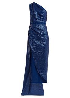 Elie Saab One-shoulder sequin-embellished dress