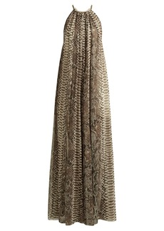 Elie Saab Python print chiffon halterneck gown