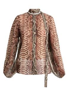 Elie Saab Python-print slit-sleeve blouse