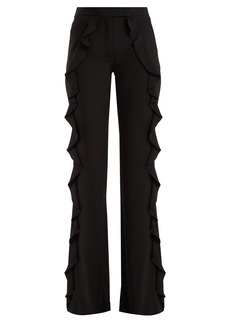 Elie Saab Ruffle-trimmed wide-leg crepe trousers