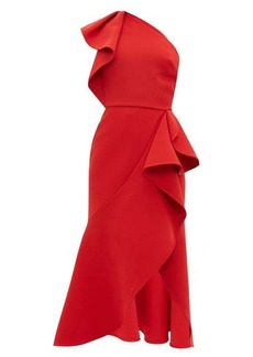 Elie Saab Ruffled one-shoulder crepe dress