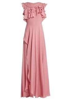 Elie Saab Ruffled silk-georgette gown