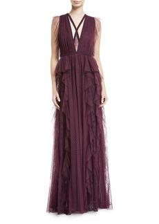 Elie Saab Ruffled Swiss Dot V-Neck Gown