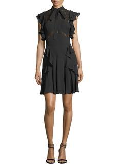 Elie Saab Ruffled Tie-Neck Lace-Trim Dress