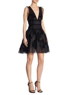 Elie Saab Sheer Fit-&-Flare Dress