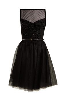 Elie Saab Slash-neck embellished polka-dot tulle dress