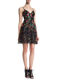 Elie Saab Sleeveless Embroidered Fit-and-Flare Dress
