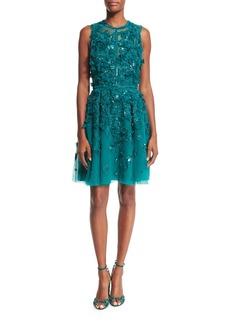 Elie Saab Sleeveless Embroidered Tulle Cocktail Dress