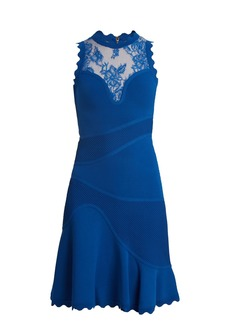 Elie Saab Sleeveless embroidered-tulle contrast-knit dress