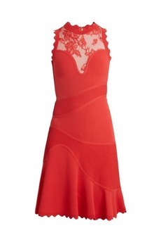 Elie Saab Sleeveless embroidered-tulle contrast-knit dress