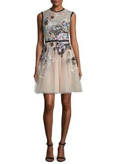 Elie Saab Sleeveless Embroidered Tulle Dress