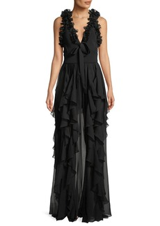 Elie Saab Sleeveless Knit Ruffled Crepe Georgette Evening Gown