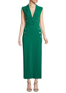 Elie Saab Sleeveless Wrapped Long Crepe Dress w/ Buttons