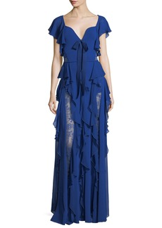 Elie Saab Sweetheart-Neck Evening Gown with Ruffles and Lace Insets