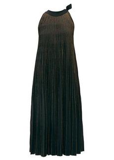 Elie Saab Tie-neck metallic ribbed-knit midi dress