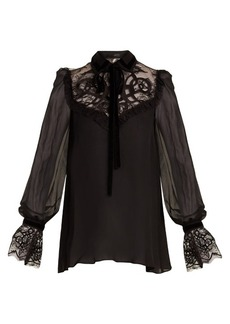 Elie Saab Velvet-embroidered lace-insert georgette blouse