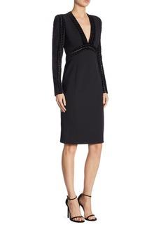 Elie Saab Velvet Trim Sheath Dress