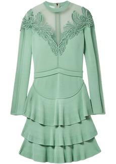Elie Saab Woman Appliquéd Tulle-paneled Stretch-knit Mini Dress Mint