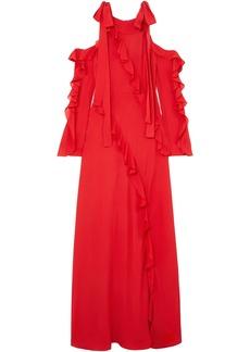 Elie Saab Woman Cold-shoulder Ruffled Silk-georgette Gown Red