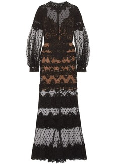 Elie Saab Woman Cotton-blend Guipure Lace And Swiss-dot Tulle Gown Black