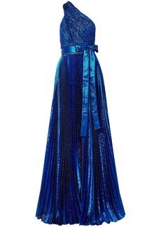 Elie Saab Woman One-shoulder Plissé Silk-blend Lamé Gown Bright Blue