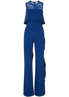 Elie Saab Woman Ruffled Lace-paneled Stretch-crepe Jumpsuit Bright Blue