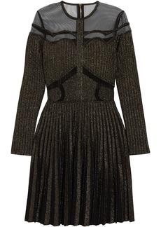 Elie Saab Woman Tulle-paneled Metallic Ribbed-knit Mini Dress Black