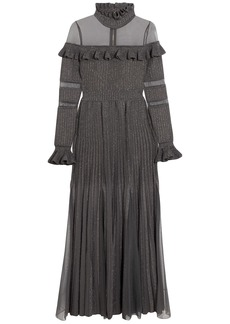 Elie Saab Woman Tulle-paneled Ruffled Metallic Ribbed-knit Gown Gray
