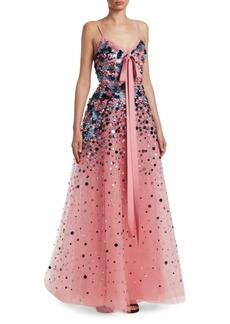 Elie Saab Embroidered Sequin Gown