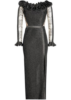 Elie Saab Floor Length Gown with Metallic Thread and Lace