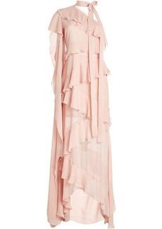 Elie Saab Floor Length Silk Gown with One Sleeve