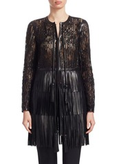 Elie Saab Fringe Layered Tiered Dress Jacket