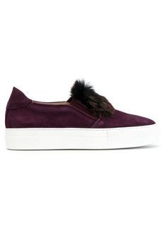 Elie Saab fur front slip-on sneakers
