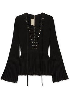 Elie Saab Lace-up Ribbed-knit Top