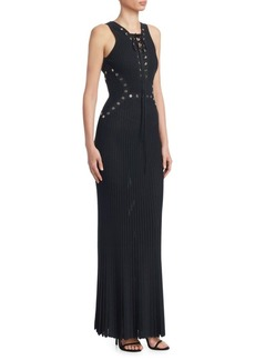 Elie Saab Lace-Up Ribbed Maxi Dress
