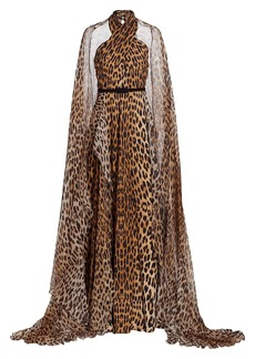 Elie Saab Leopard Silk Crepe Cape Gown