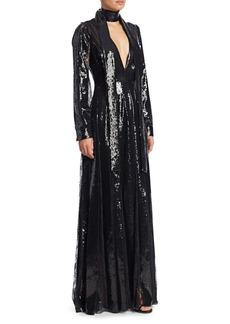 Elie Saab Long Pailettes A-Line Gown
