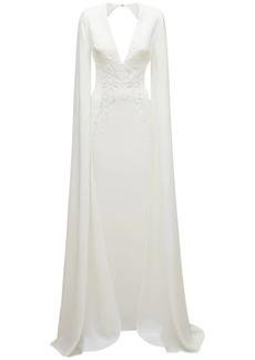 Elie Saab Long Sleeve Crepe Mermaid Dress
