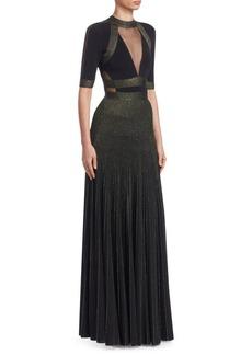 Elie Saab Metallic Knit Illusion Dress